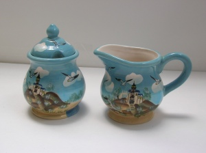 Young's Heartfelt Kitchen Creations Lighthouse with Flying Seagulls Creamer and Sugar Bowl