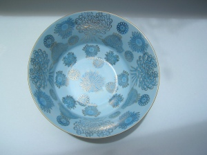 Vintage / Light Blue, Teal and Gold / Deep Bowl Imari Styled / Chrysanthemum / Prunus flower / Vintage Flowered Bowl