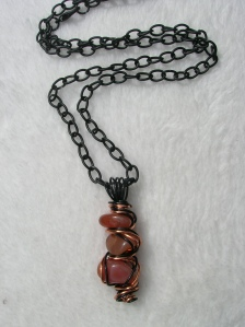 "Halloween Inspired ""Orange is the New Black"" Carnelian Wire Wrapped Pendant Necklace"