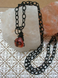 "Halloween Inspired ""Simply Charming"" Wire Wrapped Pendant Necklace / Simple, Sweet and Perfect Halloween Accessory / Orange and Black Theme"