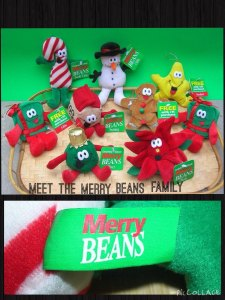 Eckerds Dan Dee Merry beans / Christmas Plushies / Christmas Bean Bag Toys / Retired from the 90's / Original Tags Attached